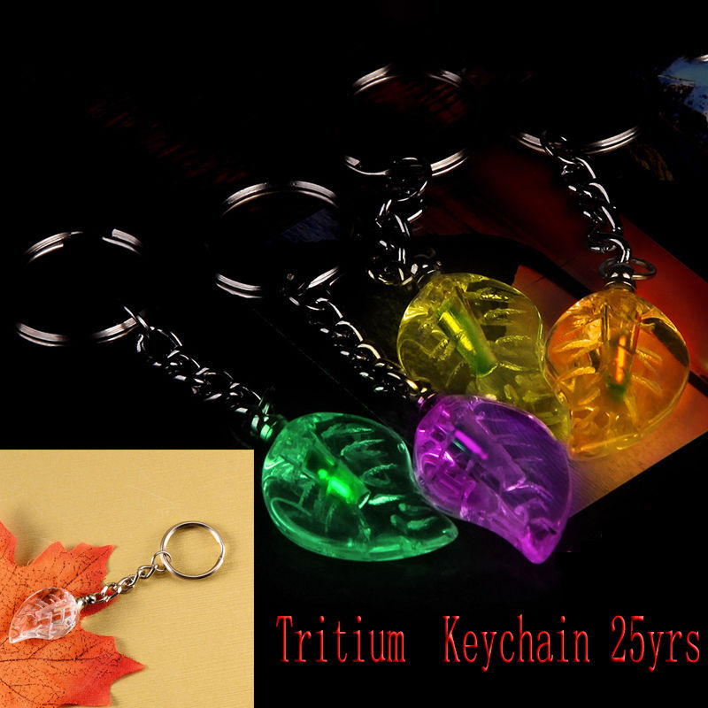 Leaf Shape Tritium Fluorescence Automatic Luminous Light  Acrylic Anti Shock Key Chains Without Energy