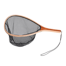 Portable Lightweight Fishing Net Fly Fishing Landing Net Wooden Handle Frame Fish Catch and Release Net Nylon / Rubber Optional