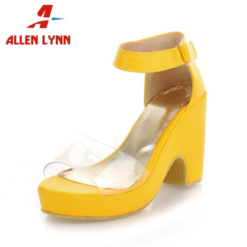 ALLENLYNN 2019 marque Design rose jaune bleu chaussures sandales d'été femme chaussures plate-forme fête sandales
