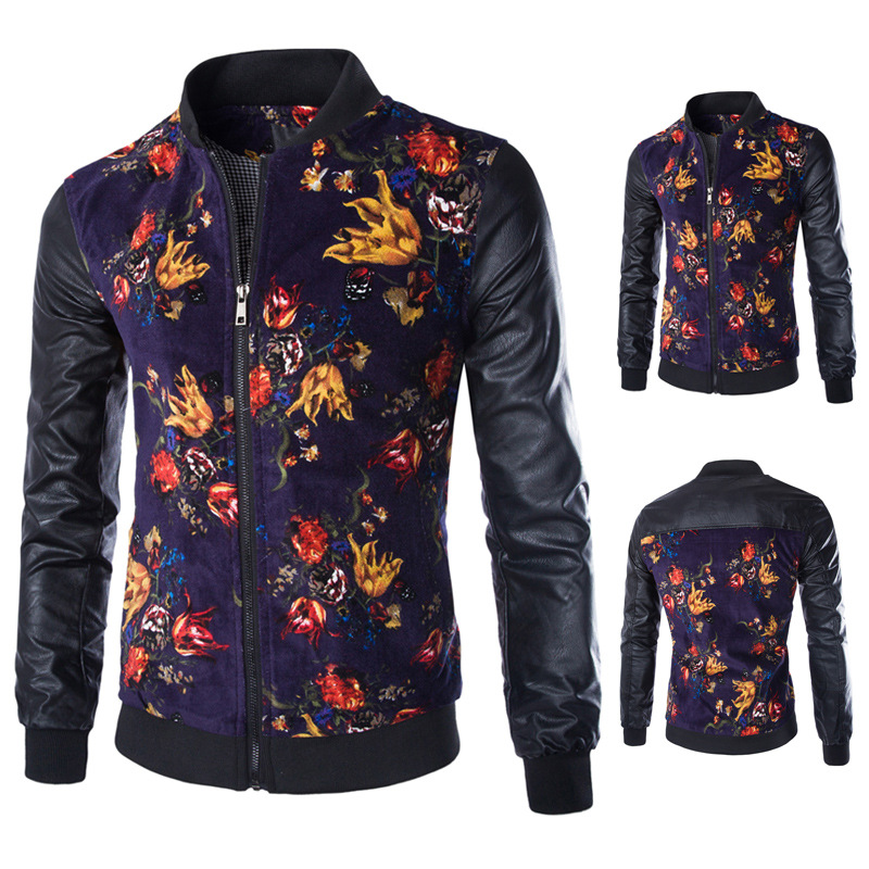 2015 Hot Mens Designer Jackets Stand Collar Floral Printed Zippers ...