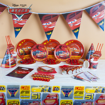 Kids Favor Disney Cars Cup+Plate+Flag+Horns Boy Birthday McQueen Tableware Baby Shower Toy Noise Maker Decoration Supply 83Pcs