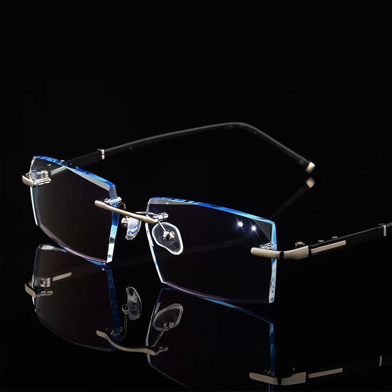 Hommes De Mode Myopie Lunettes Sans Monture Lunettes Cadre Diamant Décorations Optique Cadre avec Prescription Verre oculos + 1.0 ~ + 6.0