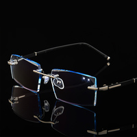 Men Fashion Myopia Glasses Rimless Eyeglasses Frame Diamond Decorations Optical Frame with Prescription Glass oculos +1.0 ~ +6.0