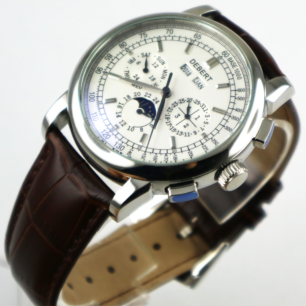 42mm debert white dial date day coffee strap multifunction automatic mens Watch цена и фото