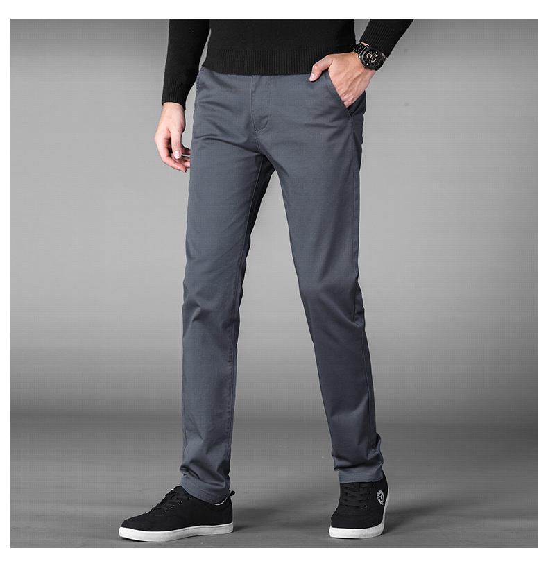 HTB1OvUsaoLrK1Rjy1zbq6AenFXas 4 Colors Casual Pants Men Classic Style 2019 New Business Elastic Cotton Slim Fit Trousers Male Gray Khaki Plus Size 42 44 46