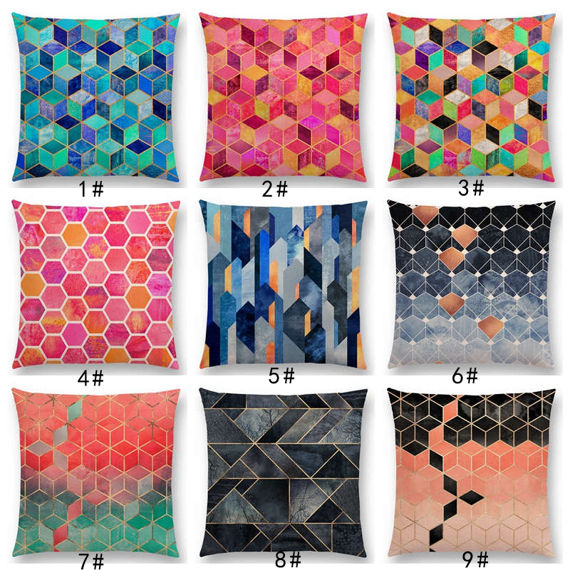 New Abstract Nature Ornate Crystal Gradient Colorful Cubes Dazzling Diamond Geometric Patterns Car Cushion Cover Pillow Case