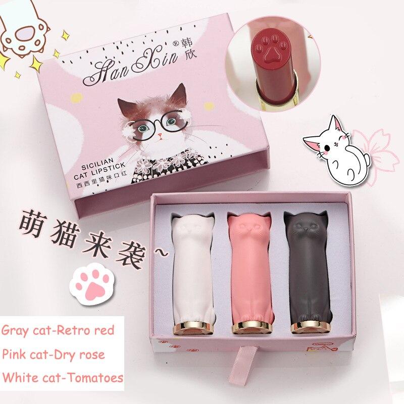 3pcs/Set Nutritious Cat Paw Lipstick Cat lip Stick Makeup Set Waterproof Long Lasting Lipstick Moisturizing lipstick Batom