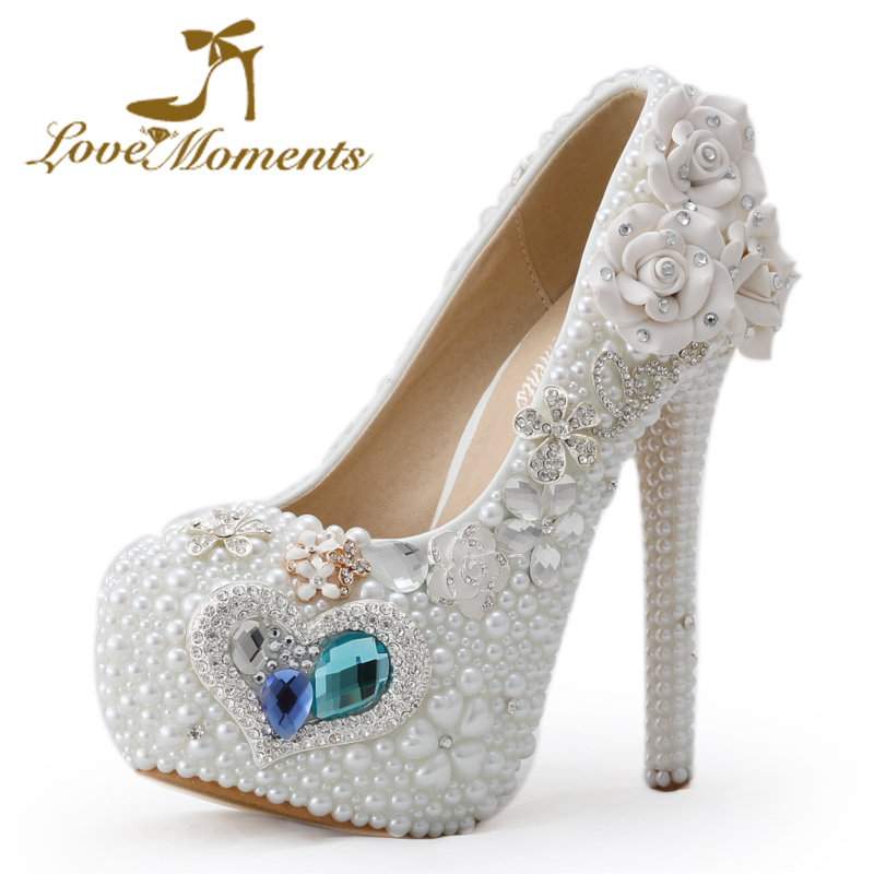ФОТО Love Moments fashion handmade ladies pearls high heels white  wedding bridal shoes  flower crystal white pearl large size