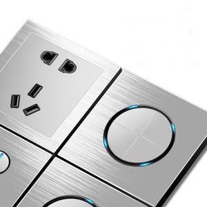Image 3 - 86 type 1 2 3 4 gang 1 2way Silver aluminum alloy panel Switch socket LED Northern Europe Industry German UK French light socket