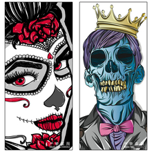 5D DIY Diamante Pintura Cráneo Rey y Reina Mujer Carteles Diamante