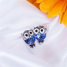 Fashion Cute Crystal Owl Girls Stud Earrings For Women Vintage Gold-Color Animal Statement Earrings Free Shipping