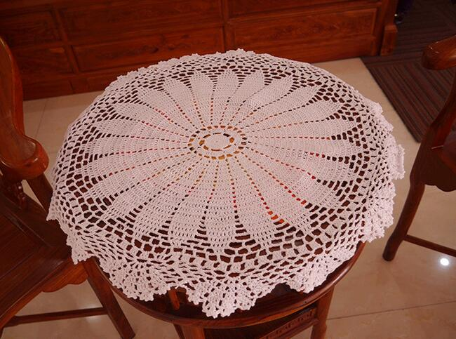 Luxury White Cotton Crochet Tablecloth Table Cloth Towel Doilies Round Lace Handmade  Table Covers For Home Wedding Decoration In Tablecloths From Home ...