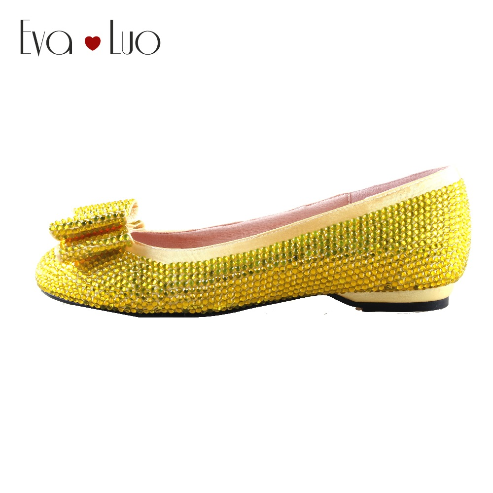 CHS999 Custom Made Yellow Crystal Women Flat Shoes Bridal Wedding Shoes Dress Shoes Ballet Flats