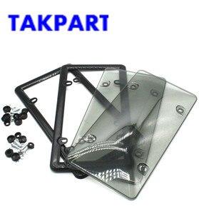 TAKPART 2x темно-серая тонированная Дымчатая бирка для номерного знака, защитная крышка и рамка для авто