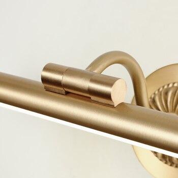 אמריקאי בציר סגנון מנורת קיר באיכות גבוהה נחושת מראה מול קיר אורות AC220V מודרני קצר אמבטיה קיר מנורת נחושת