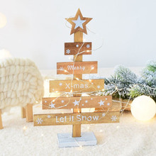Snowflake Star 28cm Creative Wooden Mini Christmas Tree Decoration for Home Ornaments Drops Desktop Decoration Merry Christmas