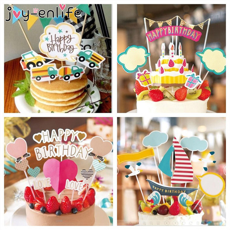 JOY-ENLIFE 1set Happy Birthday Cupcake Cake Topper Cake Flags Baby Shower Birthday Party Decor Children Kids Party Supplies birthday cake
