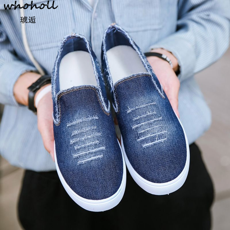 WHOHOLL 2018 Summer Man Denim Canvas Shoes Mens Casual Shoes Solid Blue Breathable Light Slip-on Platform Flat Shose for Man