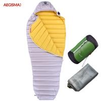 AEGISMAX Goose Down Sleeping Bag Outdoor Camp Ultra Dry White 700FP Mummy Type Sleeping Gear Water Repellent Down Sleeping Bag