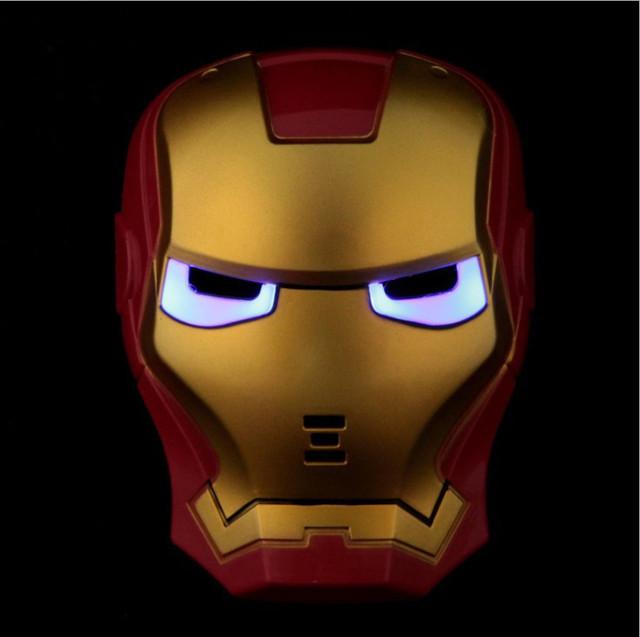 Glowing Iron Man Mask w/ Blue LED Eyes For Kids
