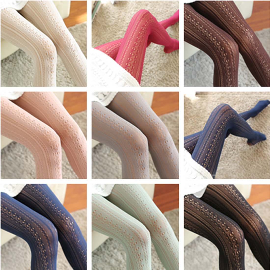 Elegant Design Hollow out Lace Fishnet Stockings Sexy Lace Pantyhose for women girls tights