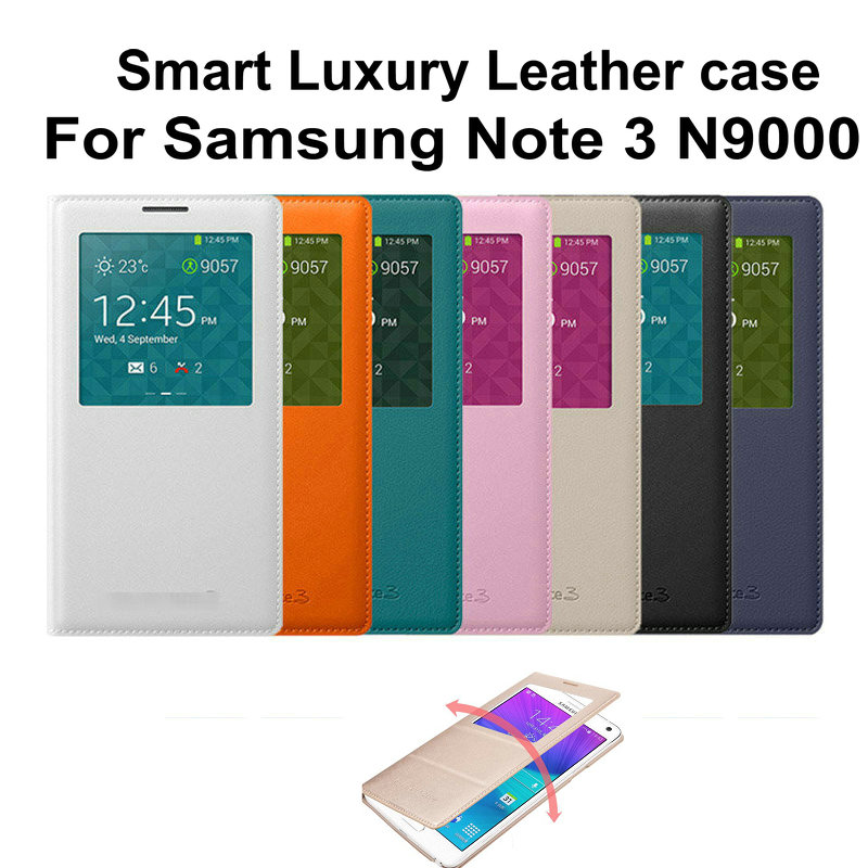 For Samsung Galaxy Note 3 N9000 N9005 Smart Window View Flip Leather Back Door Cover Case Battery Housing Holster for NOTE 3