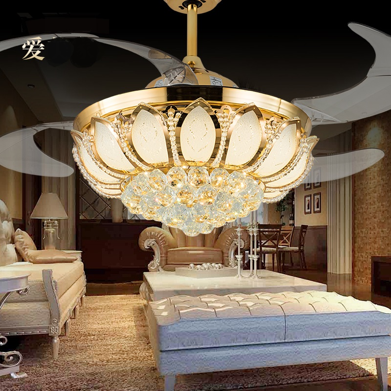 Ceiling fan household electric fan lights restaurant dining room modern living room chandeliers invisible ceiling fan light ZA simple crystal hidden ceiling fan lamp restaurant fan room living room bluetooth music live fan lamp home romance