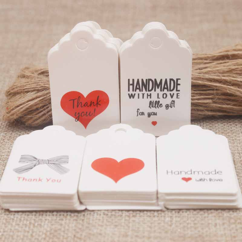 5*3cm Free Shipping DIy Handmade Jewerly Gift Hang Tag Vintage Kraft /white Red Heart Wedding Favor Tag 50pcs +50hemp String/lot