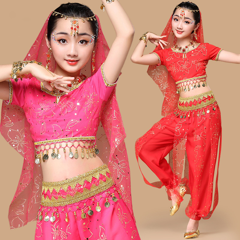 <font><b>Sari</b></font> Dancewear <font><b>Kids</b></font> <font><b>Indian</b></font> Outfits Bollywood Clothing Children Belly Dance Costume 7pcs (Top Belt Pants Veil 3 accessories) image