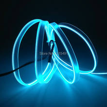1Meter Sky Blue 2.3mm Sewable EL Wire Tube Glow Wire Sew Tag Portable Neon Led Strip Night Lamp Lights for Car Dance Party Decor(China)