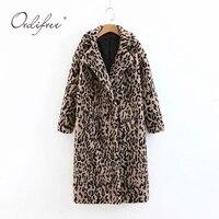 Ordifree 2019 Autumn Winter Women Long Faux Fur Coat Oversized Leopard Print Lampswool Long Parka Teddy Jackets Overcoats
