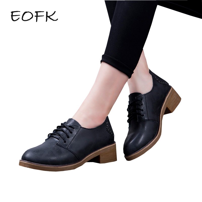 EOFK Women Leather Shoes Woman Handmade Casual Women s Flats Shoes Lace Up Concise Black New