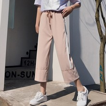 купить 2019 Women Summer Fashion Striped Long Pants Summer Loose Wide Leg Pants Female High Waist Tie Straight Casual Nine Pants по цене 457.07 рублей