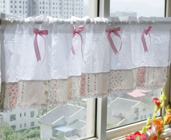Beautiful 1 Panel 40*145cm Cute Style Pink Printed Splice Lace With Bow Cotton Short  Curtain