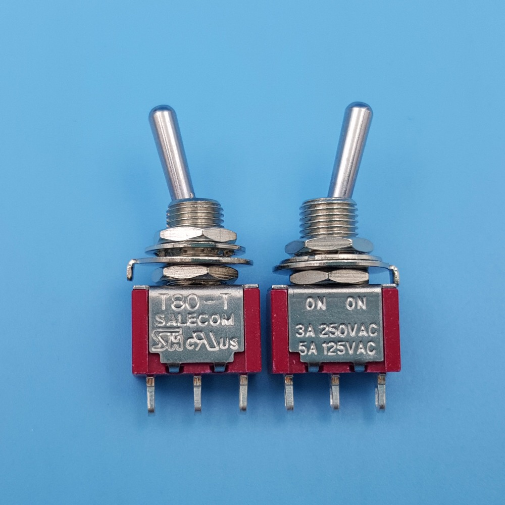 100Pcs Maintained 3Pin ON-ON 2Position Blue Toggle Switch SPDT