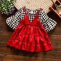 Новые Прибытия Малышей Девушки Одеваются Имитационные Две Части Детей Платье Плед Красный Черный Платье для Детей 2017 Весной Девочек Одежда