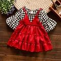 Nuevas Llegadas Vestido De Niña Pequeña Imitado Vestido de Dos Piezas Los Niños Vestido A Cuadros Rojo Negro para Niños 2017 Muchachas Del Resorte de la Ropa