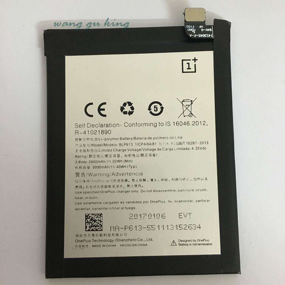 FenQingShan New Top quality BLP613 3000mAh Replacement <font><b>battery</b></font> For <font><b>OnePlus</b></font> <font><b>3</b></font> One Plus <font><b>3</b></font> Three image