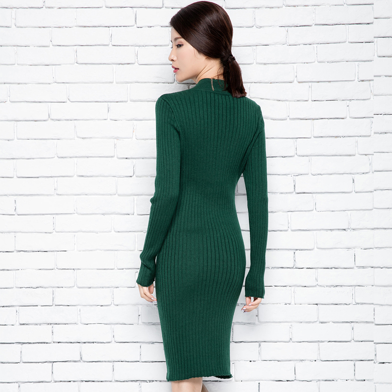 Black Arrived Cashmere Lady's Women ivory Round For New Pullovers Dress Sweater burgundy Neck Long khaki Thick green O Stripe Winter Slim agZ6S6dq