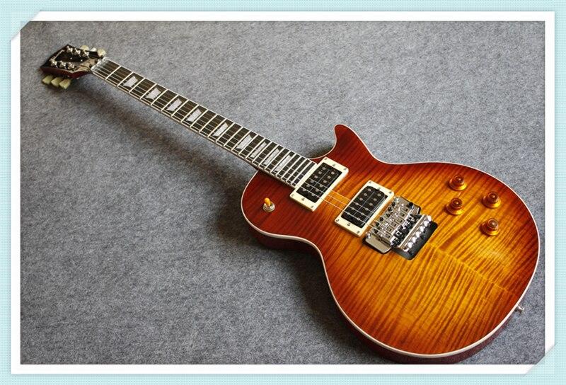 Nouvelle Arrivée Personnalisé 24 Vintage Sunburst LP Guitare Électrique Standard OEM Vibrato Floyd Rose Une Pièce Cou et Corps