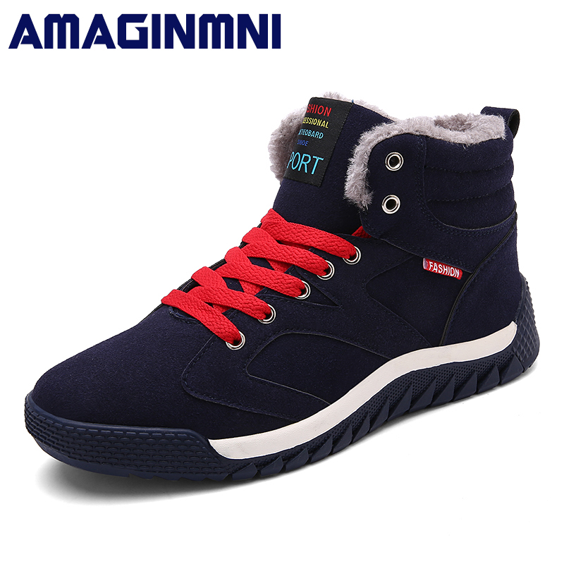 AMAGINMNI Super Warm Winter Boots Men Snow Boots With Fur Keep Warm Platform Men Winter Snow Shoes Waterproof Ankle boots mvvt super warm winter men boots snow boots with fur keep warm platform men winter snow shoes waterproof ankle boots