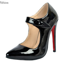 Yifsion New Fashion Women Classics Pumps Mary Janes Thin High Heels Pumps  Nice Pointed Toe Black Party Shoes Women US Size 4-15 6860936886d9