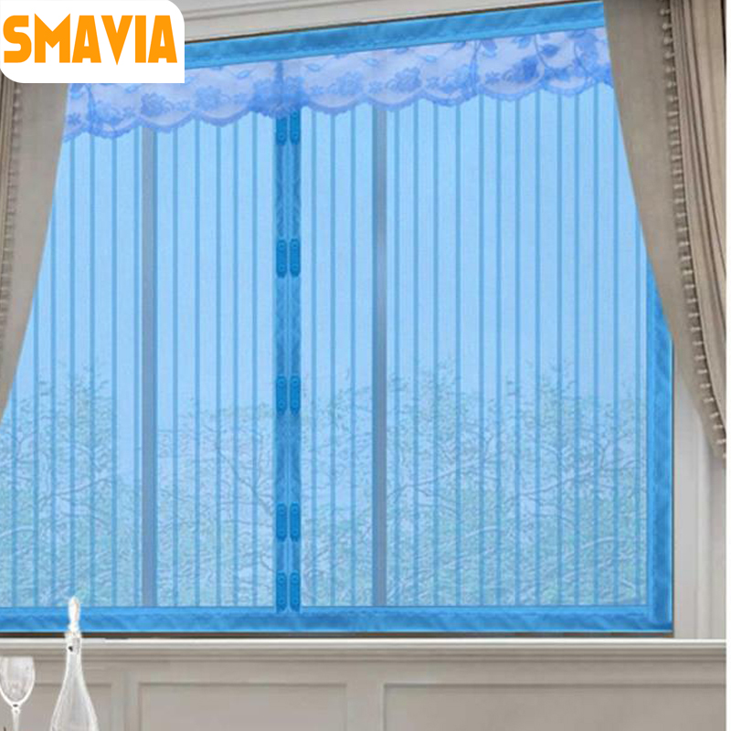 SMAVIA Summer Anti Mosquito Insect Curtains Blue Stripes Magnetic Mesh Net Automatic Closing Door Screen Kitchen Curtain 1pc