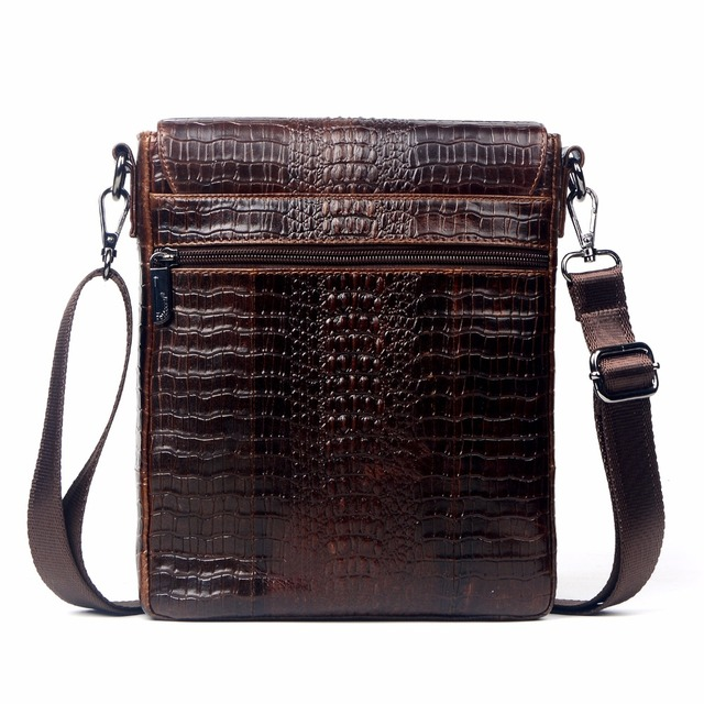 Genuine Leather Bag For Men Crocodile Alligator Mens Crossbody Shoulder Business Messenge Bags Tablet PC Male handbag 1