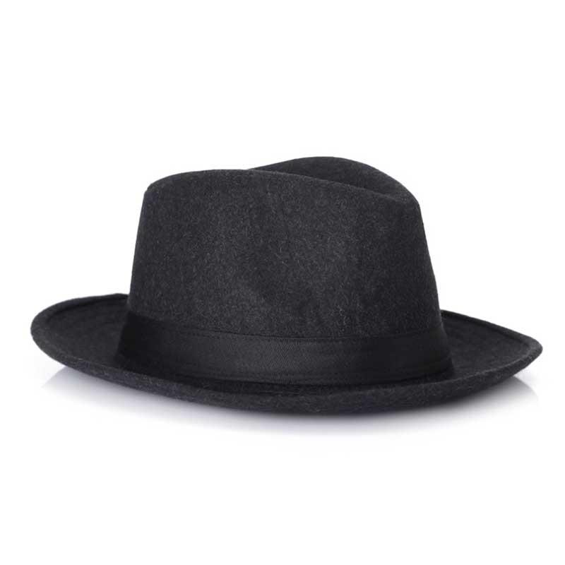 Los hombres Negros de lana Fedora Sombrero Para Las Mujeres de Lana De Ala  Ancha JazzChic Panamá Sun Sombrero de Copa Casquillo de La Vendimia en  Sombreros ... d180d712898