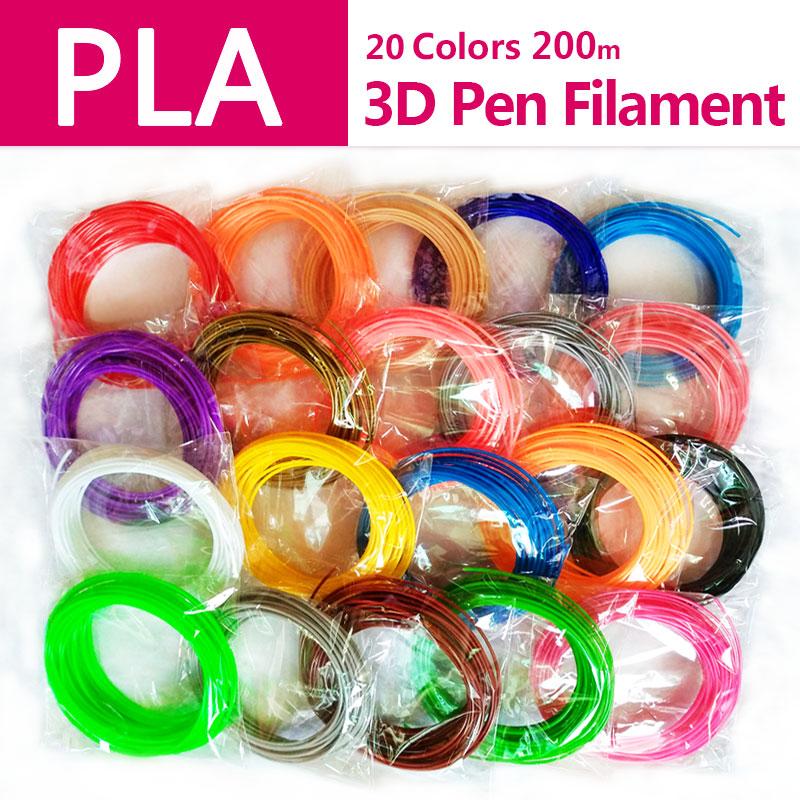 Producto de calidad pla 1,75mm 20 colores 3d filamentos de pluma pla 1,75mm pla plástico abs filamento 3d filamento 3d impresora 3d pla Cable de pluma 3d