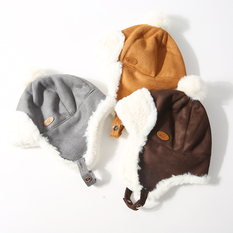 Children's hat autumn and winter plus velvet thickening warm Lei Feng hat earmuffs plush hat male girl windproof cap(China)
