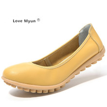2017 Fashion Genuine Leather Ballet Flat Shoes Woman Pointed Toe Plus Solid Black Shallow Soft Office Work Pregnant Shoes Woman