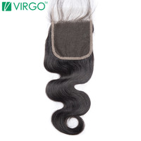 Volys Virgo Hair Human Hair 4x4 Remy Hair Body Wave Lace Closure With Baby Hair Nature Black Free Part Can Be Dyed And Bleached
