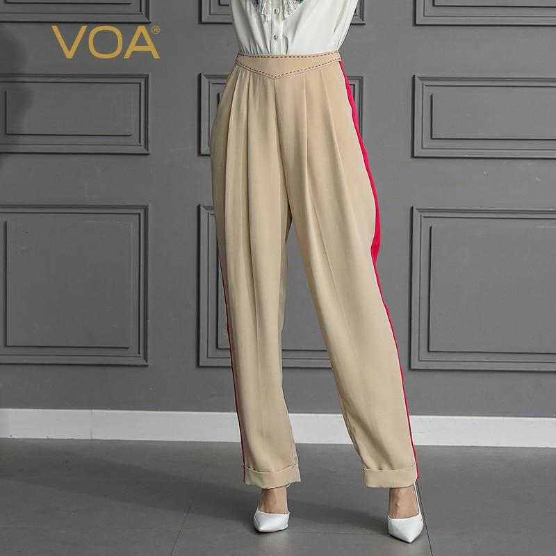 VOA soie lourde Harem pantalon femmes Long pantalon grande taille 5XL Harajuku taille haute bureau basique décontracté kaki plafones mujer K558